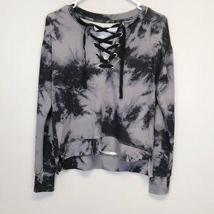 Tie-Dye Soft Lace Up Sweatshirt